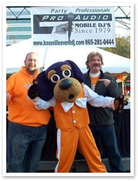 DJ Scott and John Rutherford at Thompson Bowling Arena before the UT Homecoming game.